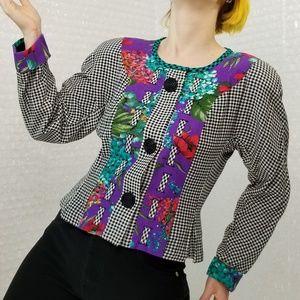Carole Little VTG 90s floral & houndstooth blazer